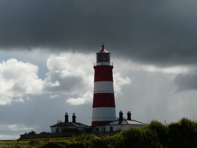 Light in the darkness: Happisburgh lighthouse on a cold April Sunday